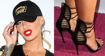 125b1a86c499 Amber Rose Launches  Goddess  Digital Character in Skintight Dress and Giuseppe  Zanotti Strappy Heels