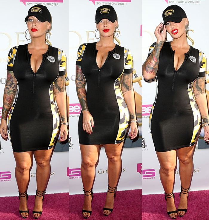 Amber Rose's skintight Lycra dress by New Future London
