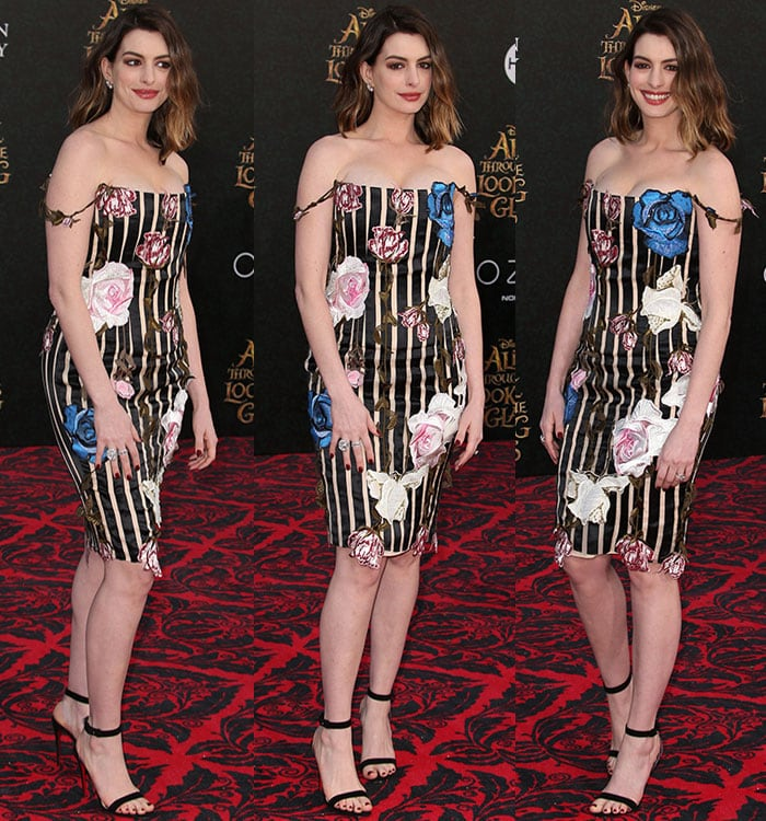 Anne-Hathaway-cleavage-Christopher-Kane-floral-stripe-dress