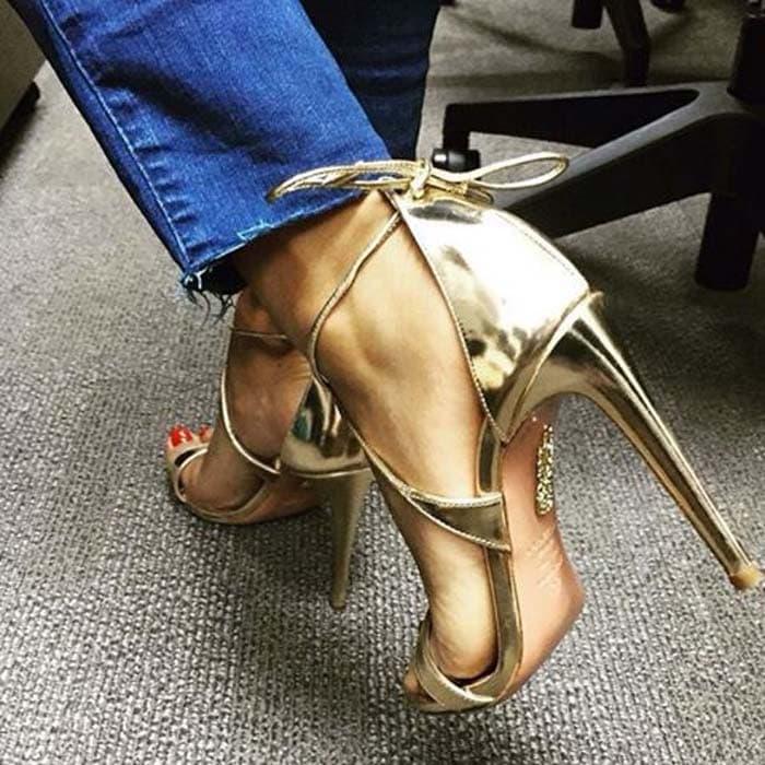 Aquazzura Linda Metallic Leather Sandals