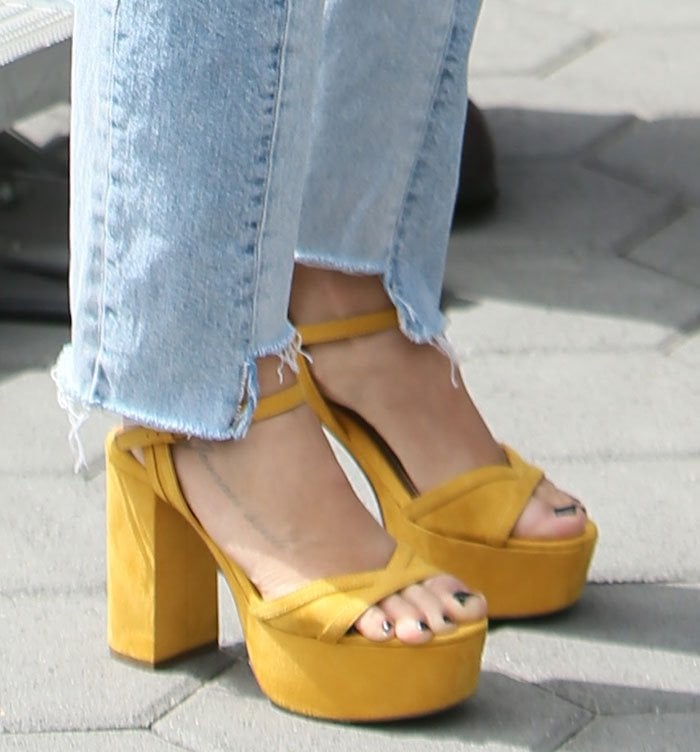 Ashley Tisdale Promotes Makeup Line In Zara Platform Sandals