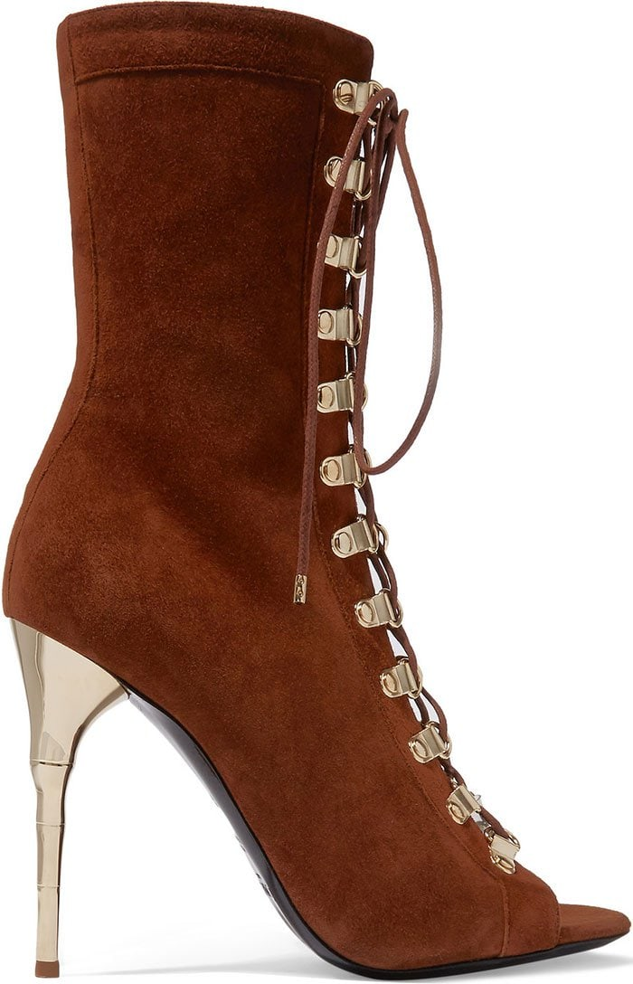 Balmain Ava lace-up suede boots