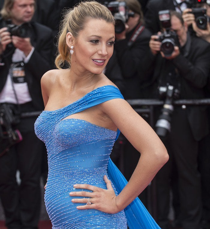 Blake Lively in a one-shoulder cornflower blue Atelier Versace chiffon gown at the premiere of 'The BFG' during the 2016 Cannes Film Festival in Cannes on May 14, 2016