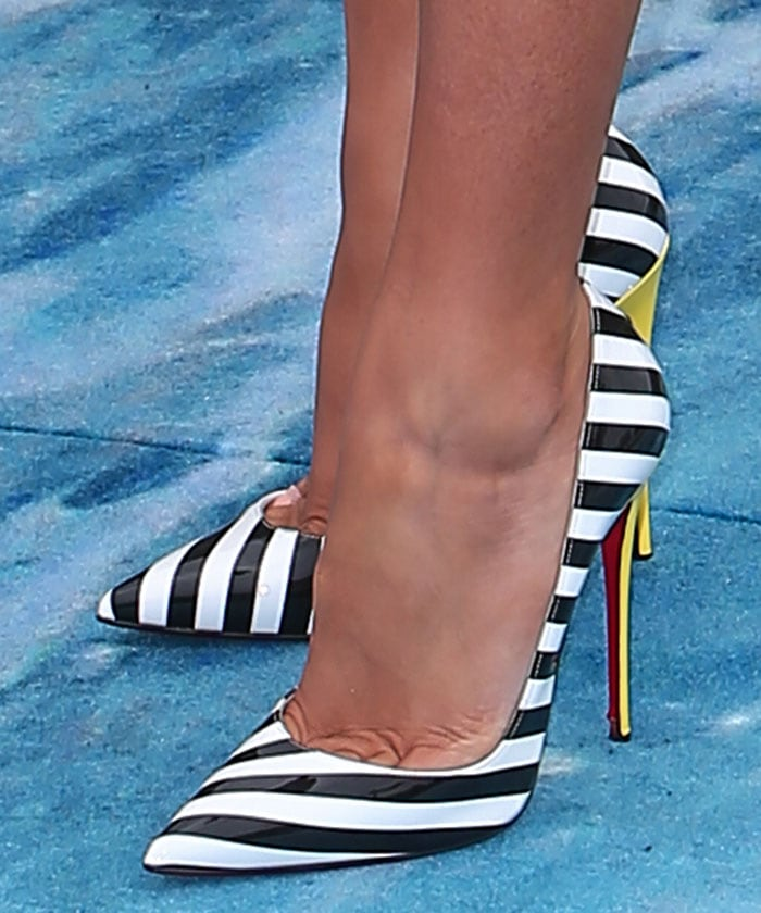 Blake Lively In Black And White Striped Patent Leather So