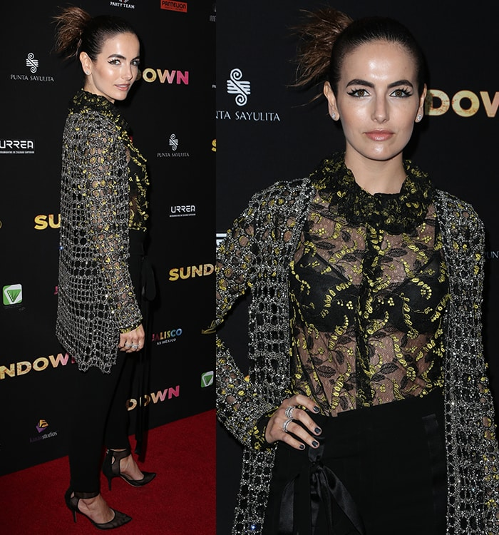 Camilla-Belle-Monique-Lhuillier-sheer-petal-blouse-net-cardigan