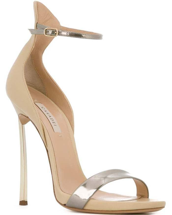 Casadei Blade Sandals Nude Silver