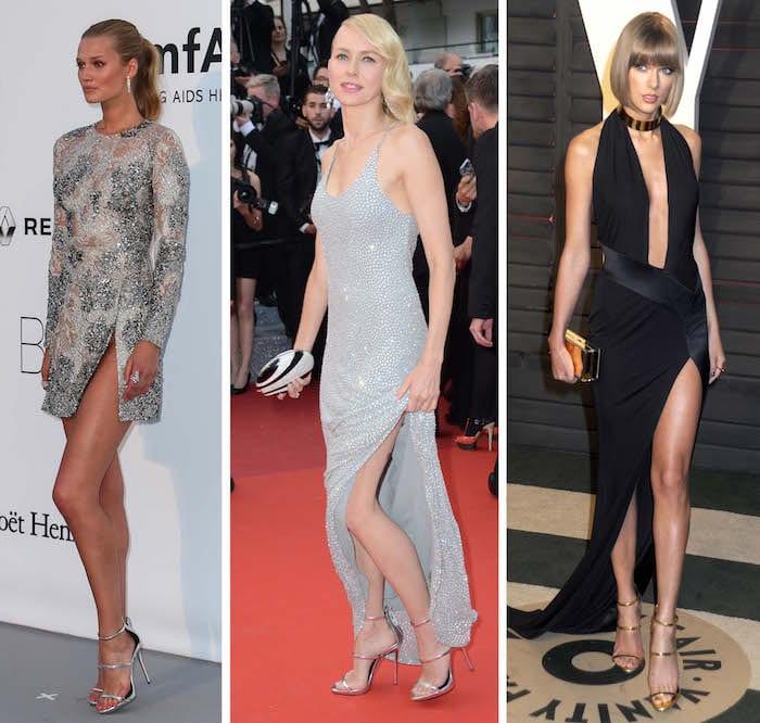 Toni Garrn, Naomi Watts, and Taylor Swift in Giuseppe Zanotti's Harmony sandals