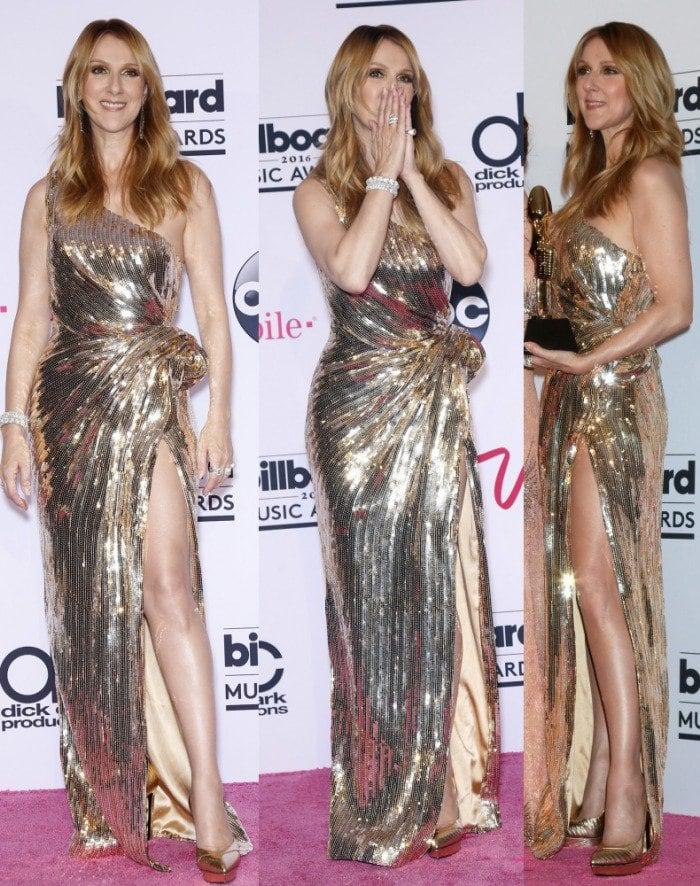 Celine Dion Billboard music awards saint laurent pumps gold