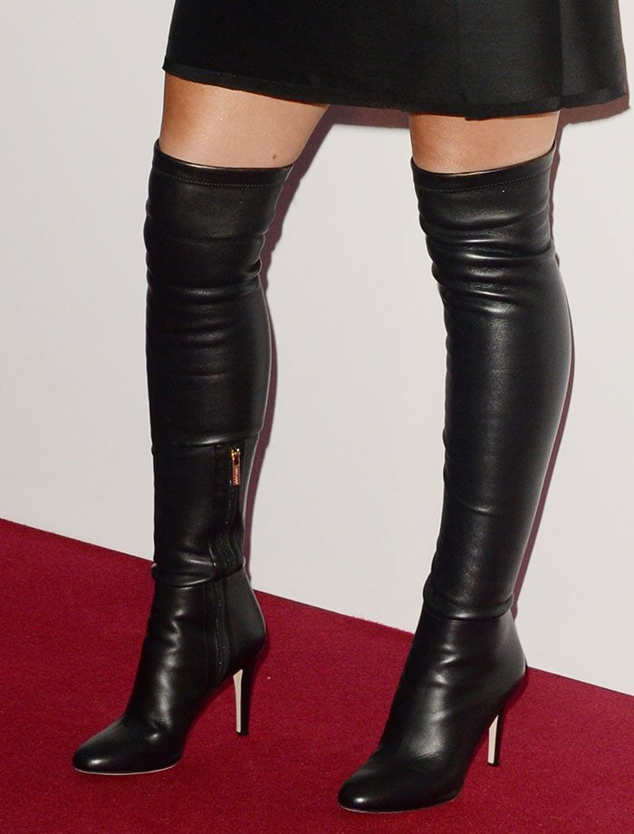 ba959e3f423 Cheryl Cole Femme Fatale in Jimmy Choo  Toni  Leather Boots