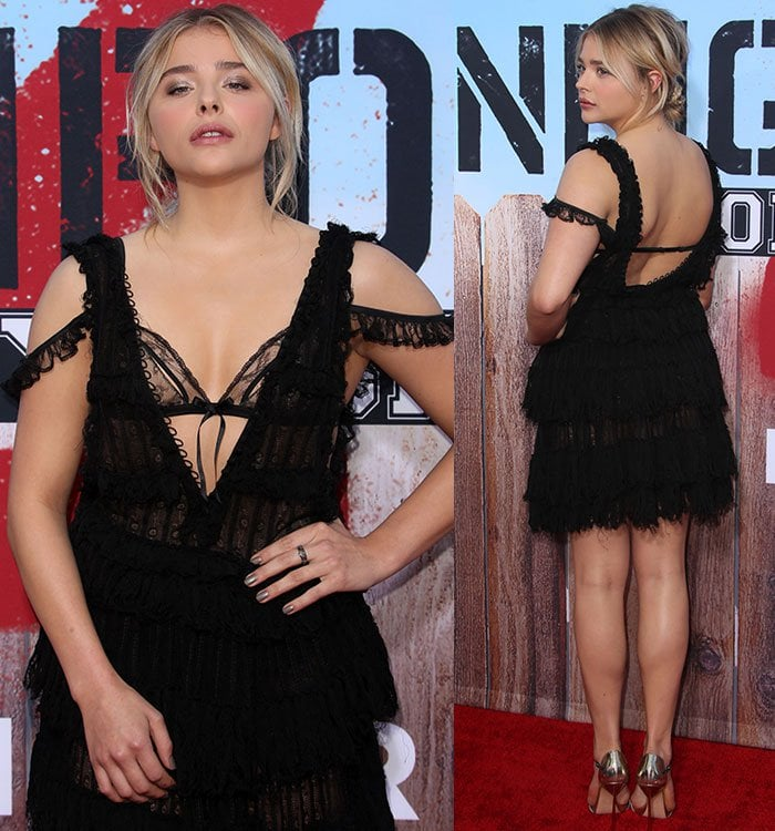 Chloe-Grace-Moretz-tiered-frilly-Alexander-McQueen-black-dress