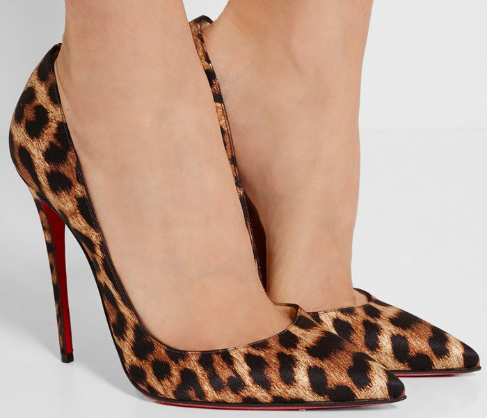 Christian Louboutin So Kate 120 leopard-print satin pumps