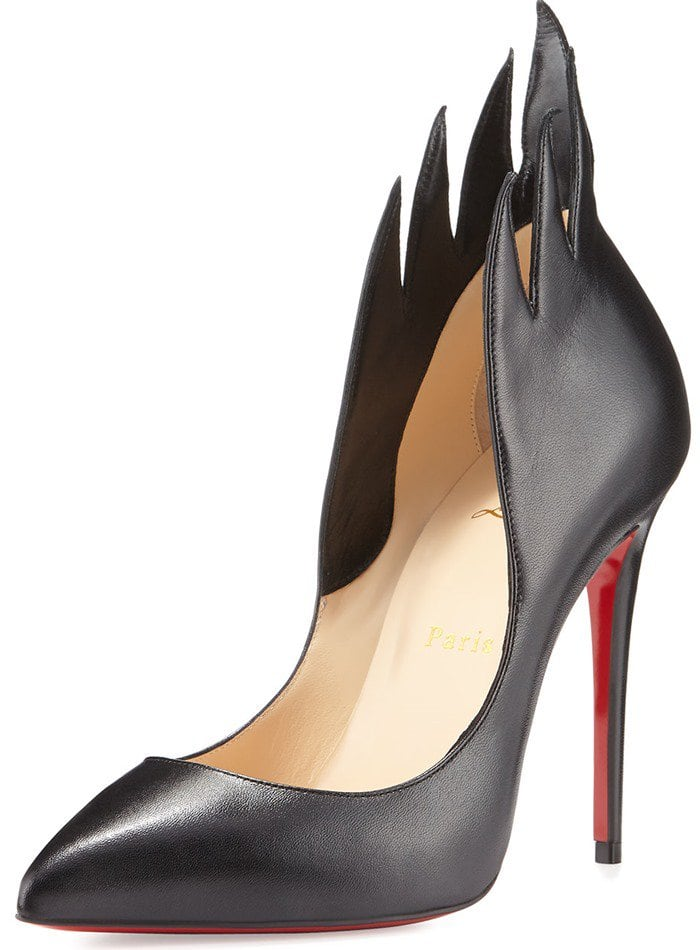Christian Louboutin 'Victorina' Flame Topline Pointy Toe Pump Black Leather