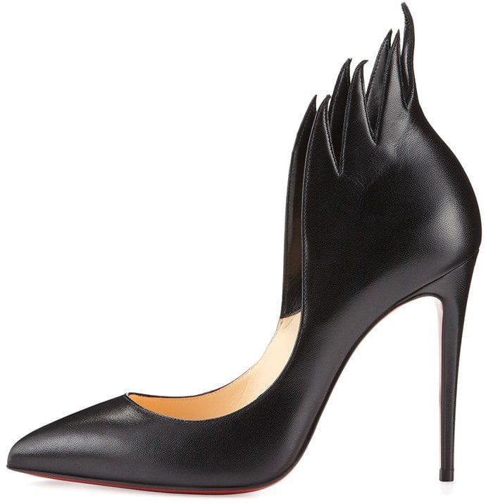 Christian Louboutin 'Victorina' Flame Topline Pointy Toe Pump in Black Leather