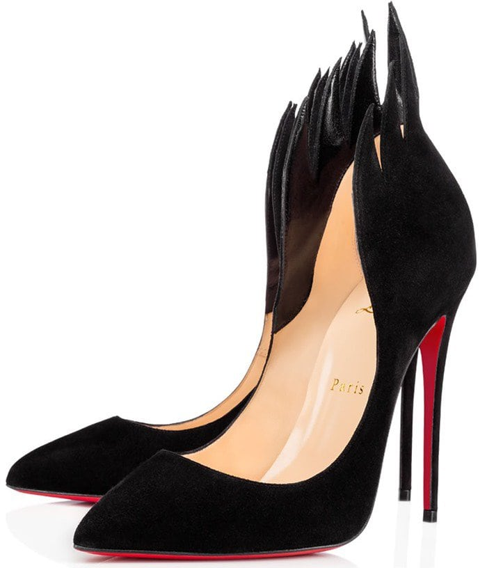 Christian Louboutin 'Victorina' Flame Topline Pointy Toe Pump in Black