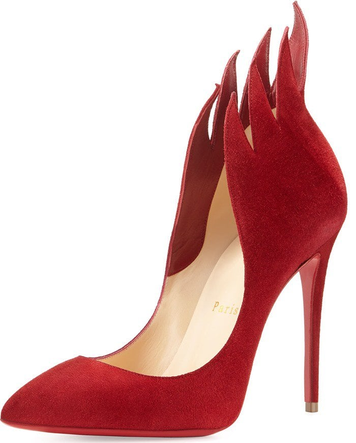 Christian Louboutin 'Victorina' Flame Topline Pointy Toe Pump in Red