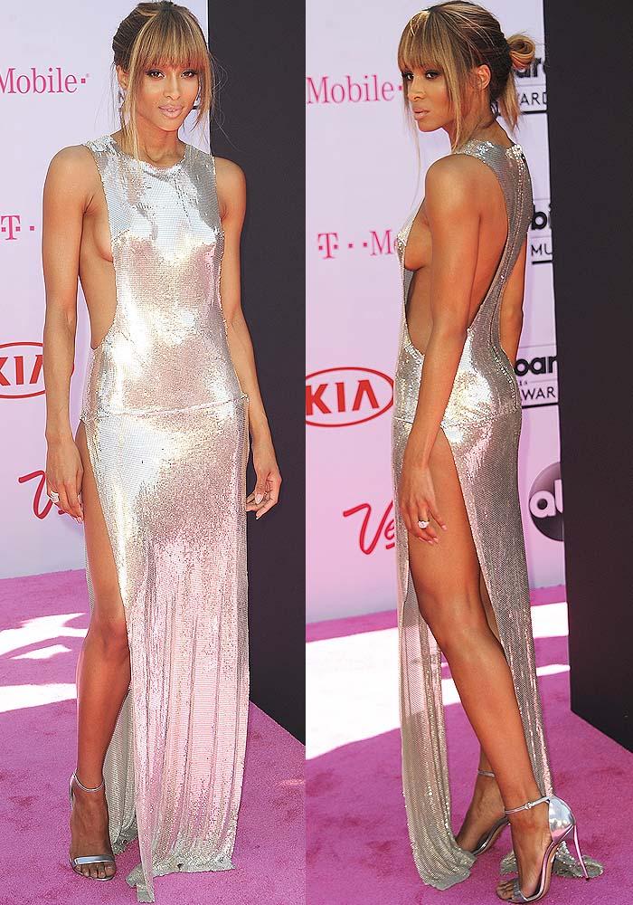 Ciara flaunts her sexy legs ina silver sideboob-baring Philipp Plein dress