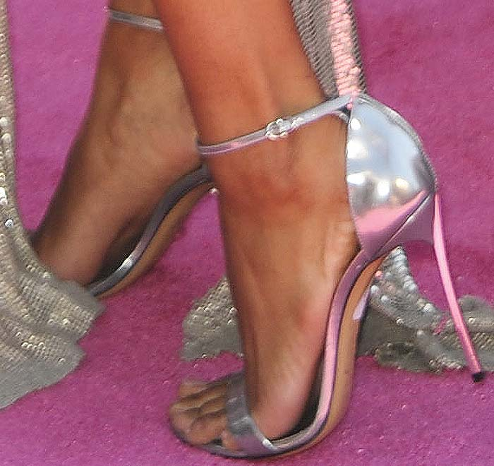 "A price tag firmly in place on this pair of Casadei ""Blade"" sandals"