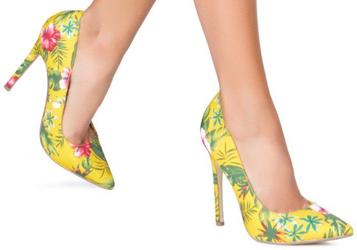 Colorful Patterned Pointy-Toe Pumps in Yellow Multicolor