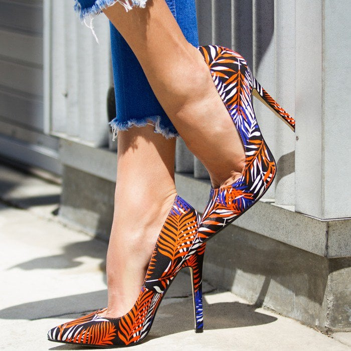 Colorful Patterned Pointy-Toe Pumps