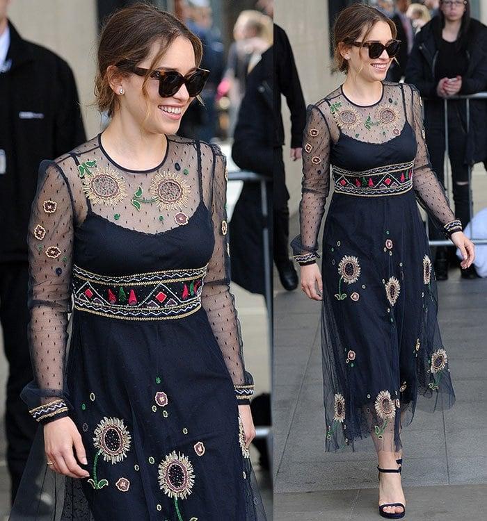 Emilia-Clarke-Valentino-sheer-panel-bead-embellished-sunflower-dress