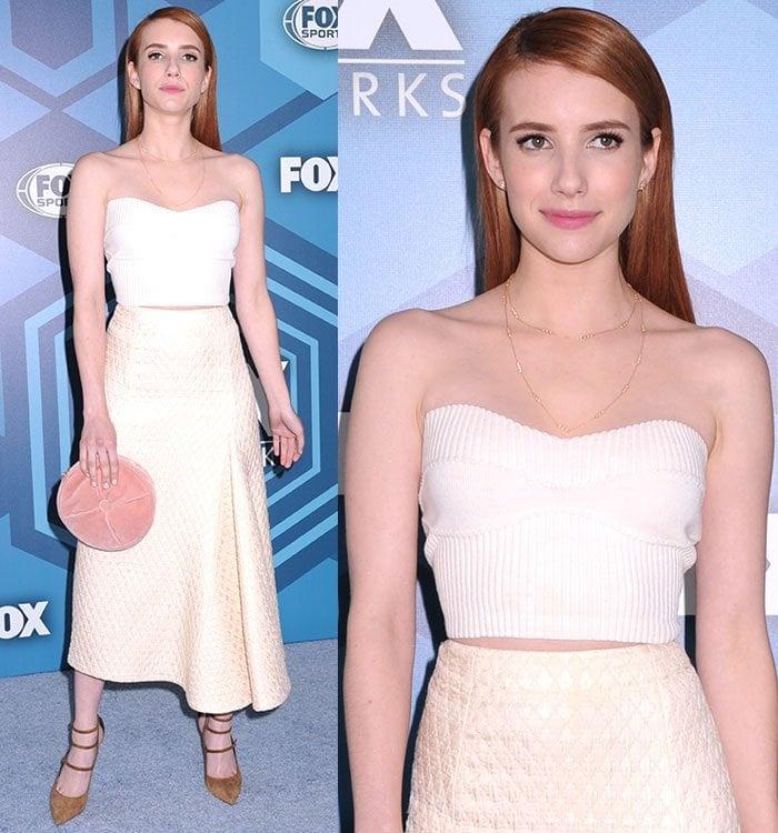 Emma-Roberts-Victoria-Beckham-crop-top-midi-skirt