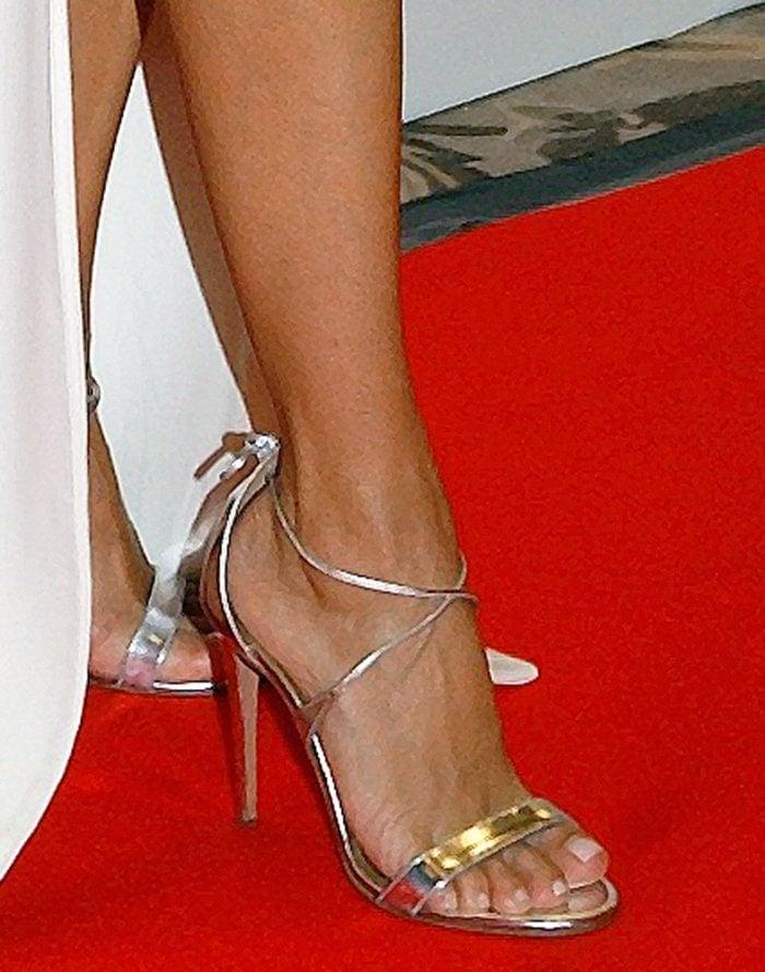 Eva Longoria wearing Aquazzura 'Linda' heels
