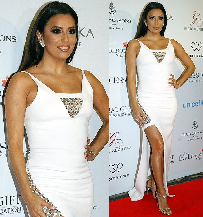 Eva-Longoria-David-Koma-white-gown-thigh-slit-sequins