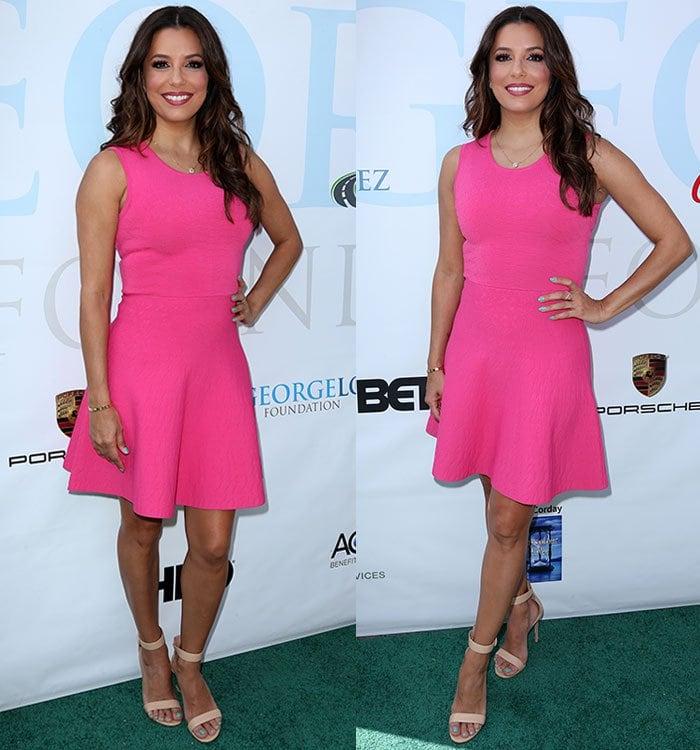 Eva-Longoria-The-Limited-pink-fit-flare-sleeveless-dress