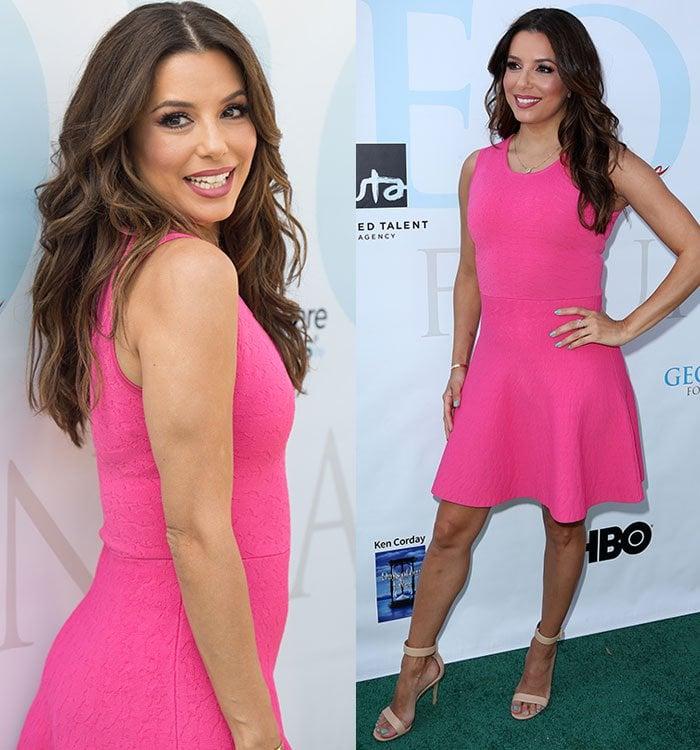 Eva-Longoria-The-Limited-pink-sleeveless-dress