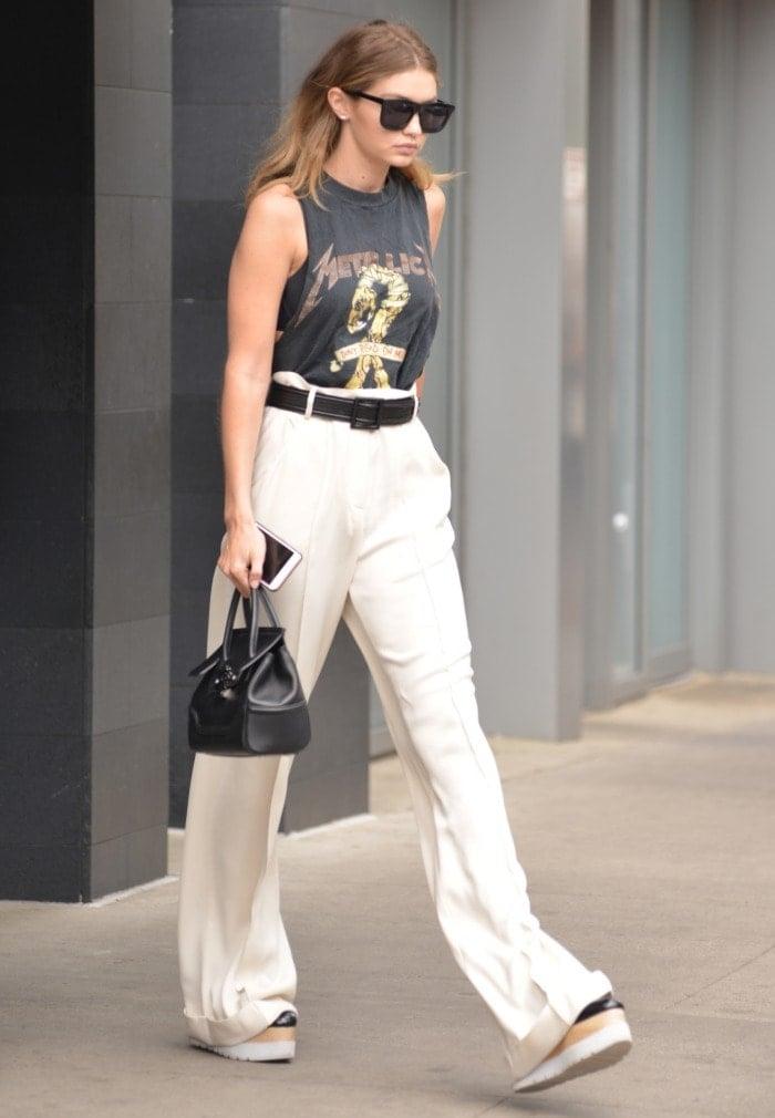 1a82e64dcddd Gigi Hadid Adds Height in Stella McCartney  Elyse  Platform Shoes