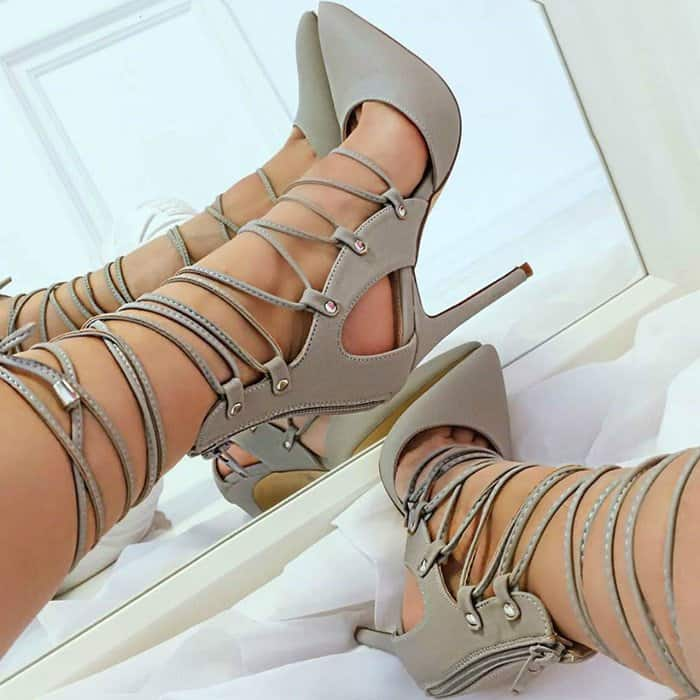 Grey Pointed Closed Toe Faux Leather High Heels