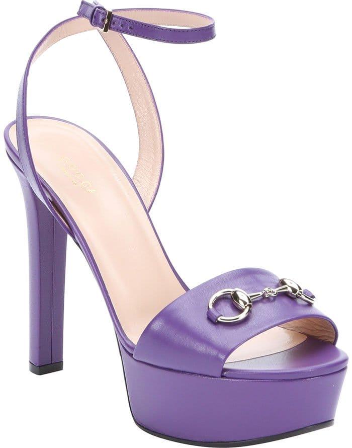 Gucci Shine Leather Leila Horsebit Detail Platform Sandals
