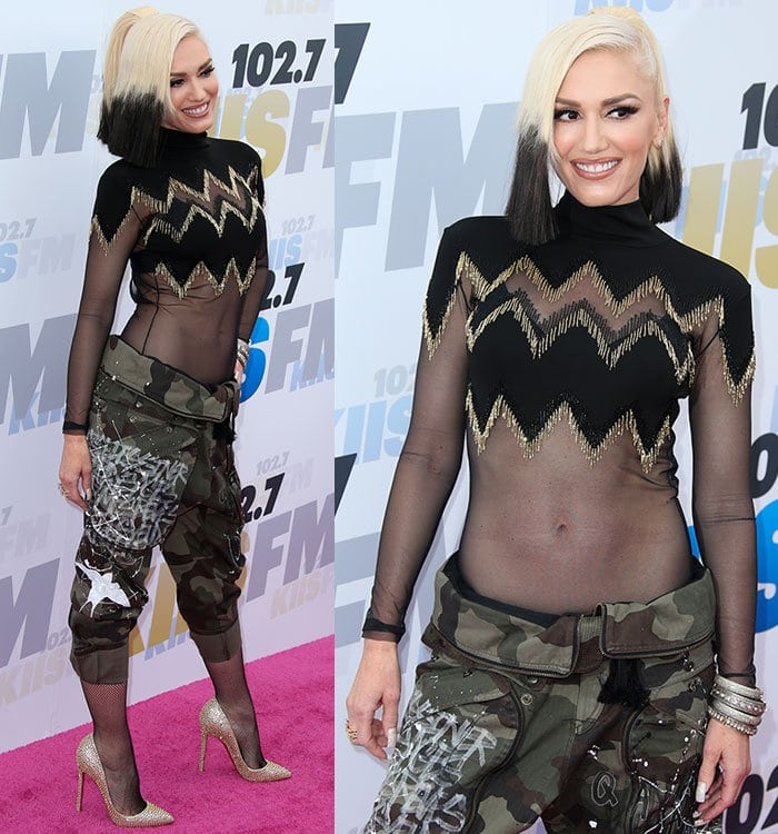 Gwen-Stefani-sheer-top-paint-army-cargo-pants-fishnets