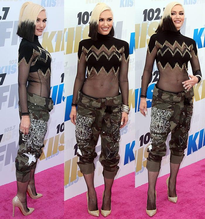 Gwen-Stefani-stomach-sheer-black-gold-top-cargo-pants