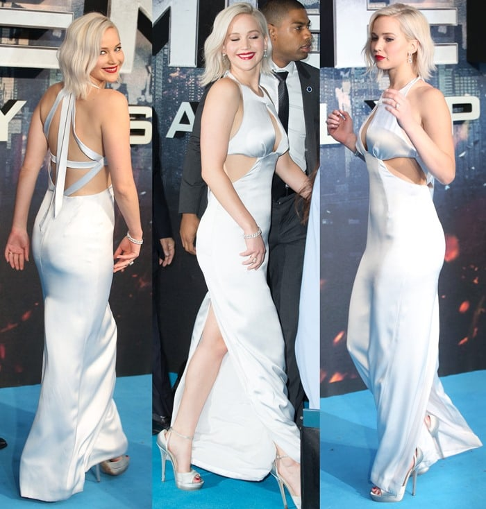 Jennifer Lawrence in a daring Christian Dior cut-out dress at the 'X-Men: Apocalypse' fan screening