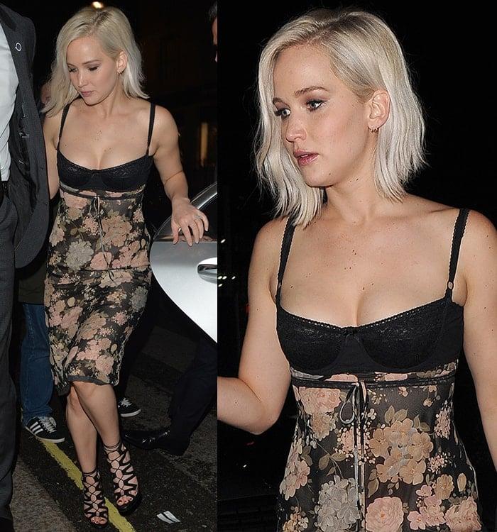 Jennifer-Lawrence-cleavage-floral-corset-dress-Tape-Nightclub