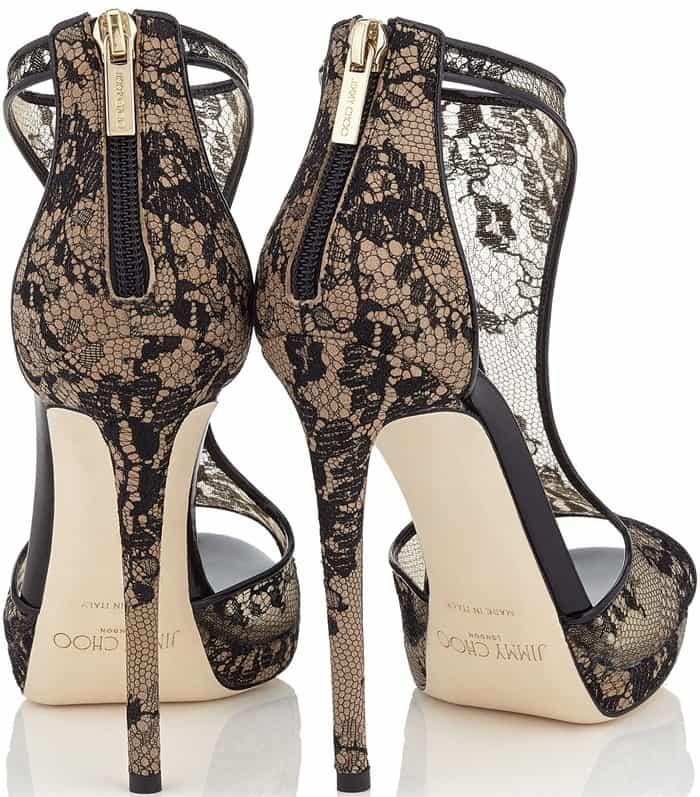 Jimmy Choo 'Lana' Black Lace T-Bar Sandals