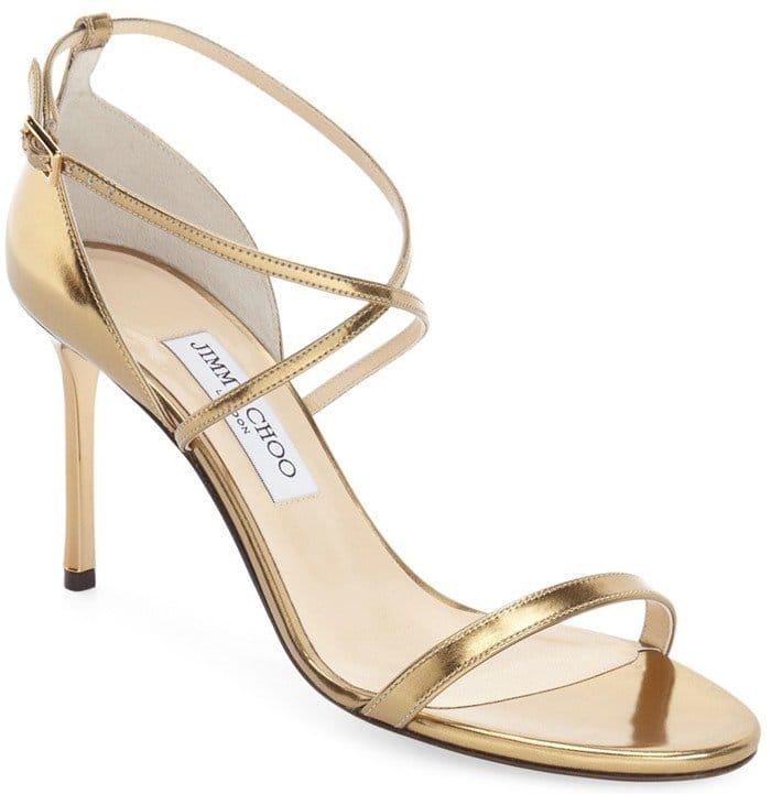 Jimmy Choo 'Hesper' Ankle Strap Sandal in Light Honey Leather
