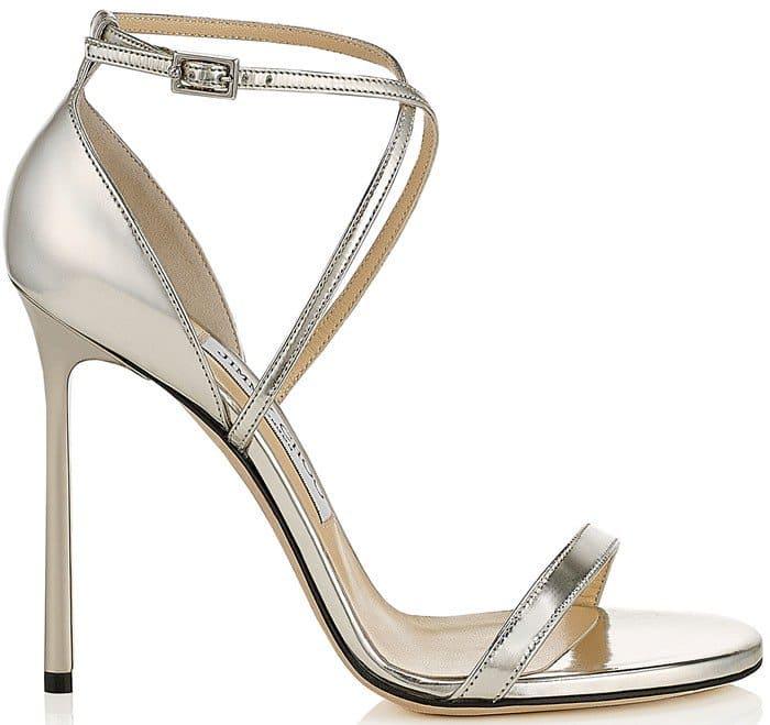 Jimmy Choo 'Hesper' Ankle Strap Sandal in Silver Mirror Leather