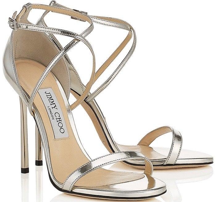 Jimmy Choo 'Hesper' Ankle Strap Sandal in Silver