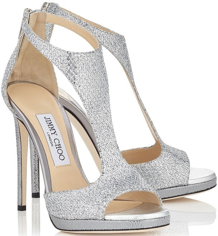 a787b595d27 Silver Glitter Lana Twill Sandals With Delicate Buckled Ankle Strap