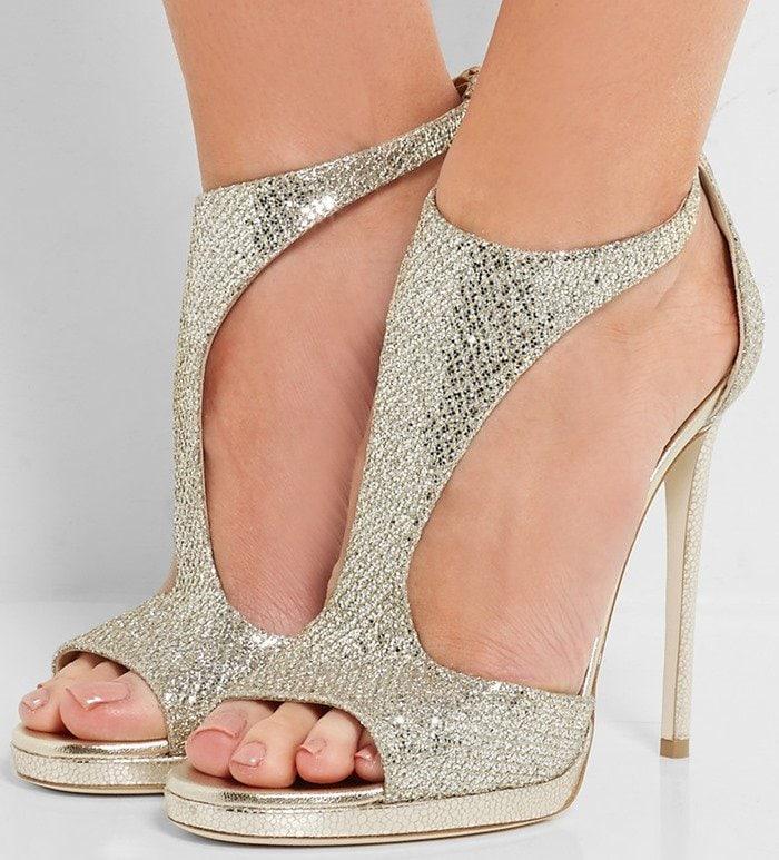 Jimmy Choo Lana glittered twill sandals