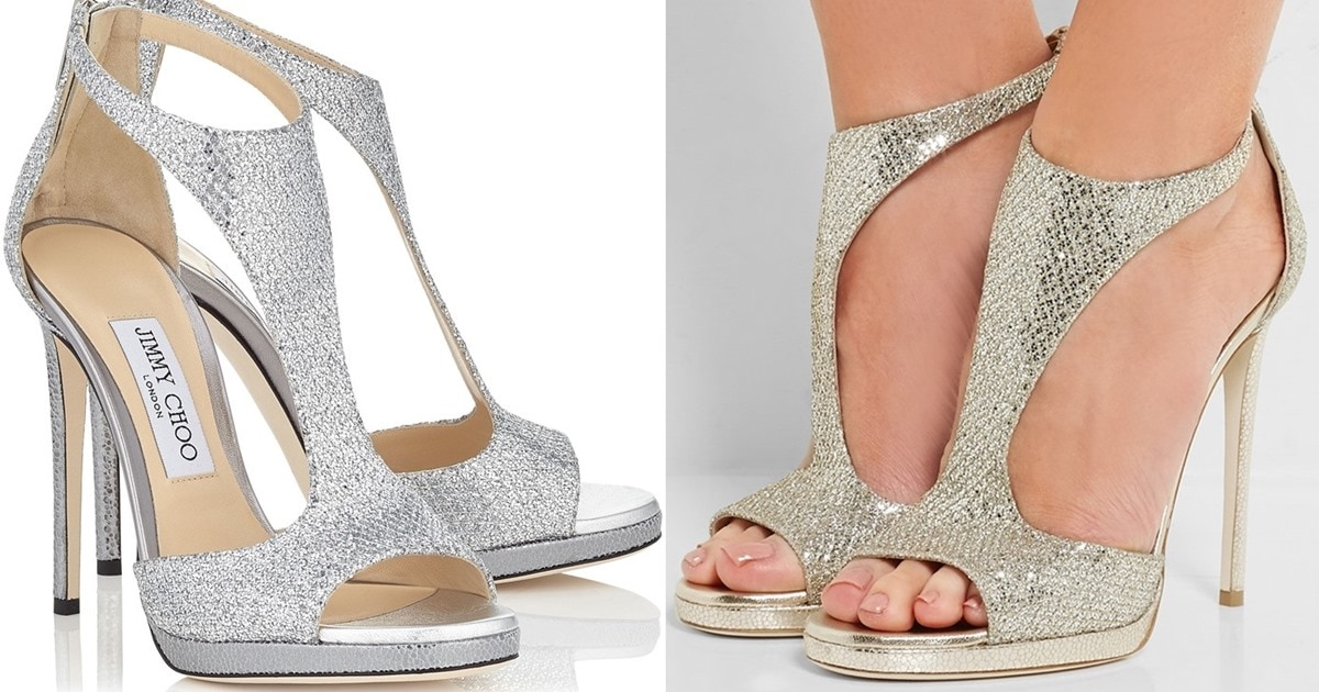 dbadb8443cd Silver Glitter Lana Twill Sandals With Delicate Buckled Ankle Strap