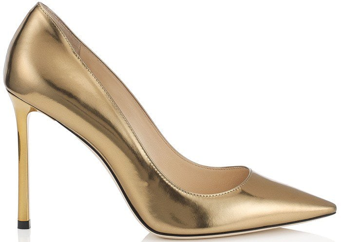 Jimmy Choo Romy Light Honey Mirror Leather Pointy Toe Pump