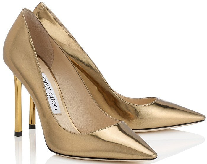Jimmy Choo Romy Light Honey Mirror Leather Pointy Toe Pumps