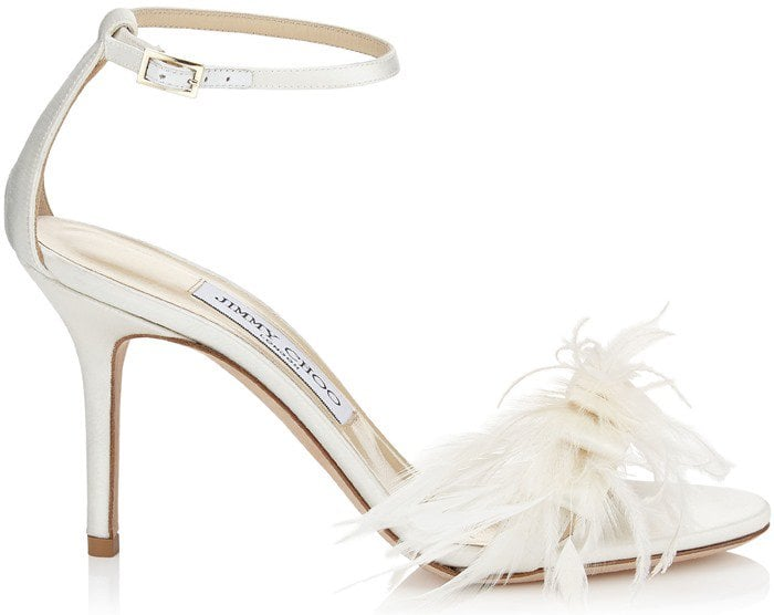 Jimmy Choo Vivien Ostrich Feather-Bow Satin Sandal