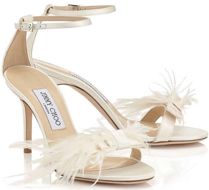 Jimmy Choo Vivien Ostrich Feather-Bow Satin Sandals