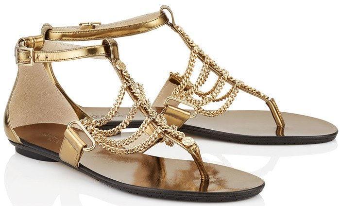 Jimmy Choo Wallace Chain T-Strap Sandal in Platinum Mirror