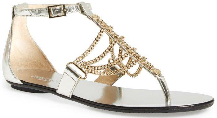 Jimmy Choo Wallace Chain T-Strap Sandal in Silver