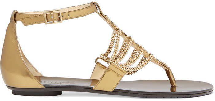 Jimmy Choo Wallace chain-embellished mirrored-leather sandal